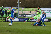 Forest Green Rovers Kaiyne Woolery(14) shoots at goal during the Vanarama National League match between Forest Green Rovers and Macclesfield Town at the New Lawn, Forest Green, United Kingdom on 4 March 2017. Photo by Shane Healey.