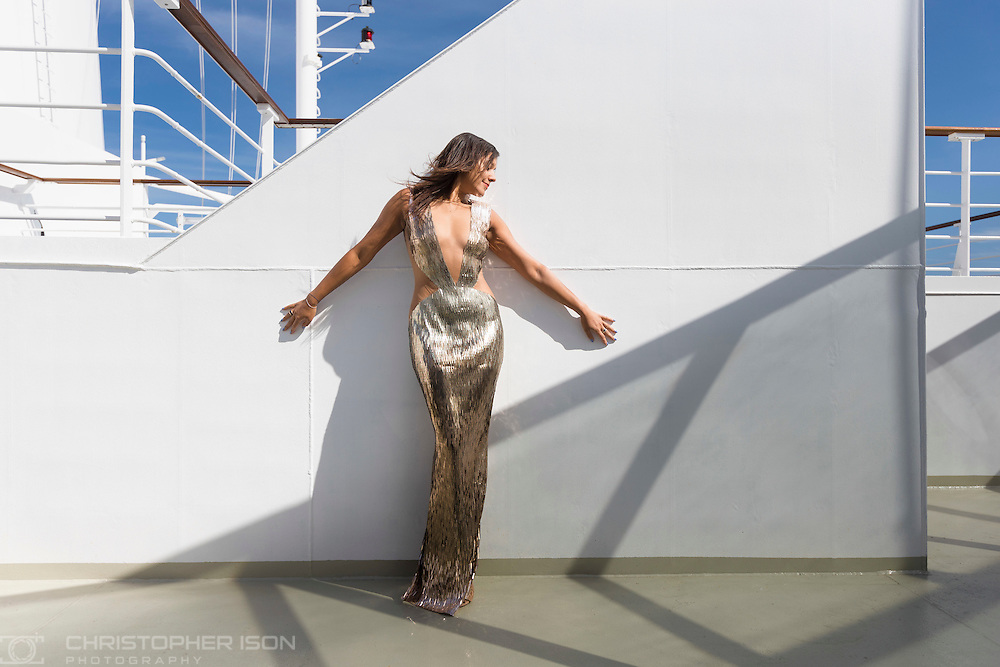 Bonnie Rakhit wearing a Julien MacDonald dress, which was designed originally for Beyonce, aboard Queen Mary 2 during Cunard's first Transatlantic Fashion Week. The voyage set sail from Southampton and will arrive in to New York City for the start of New York Fashion Week on the 8th September. <br /> Picture date: Friday September 2, 2016.<br /> Photograph by Christopher Ison &copy;<br /> 07544044177<br /> chris@christopherison.com<br /> www.christopherison.com