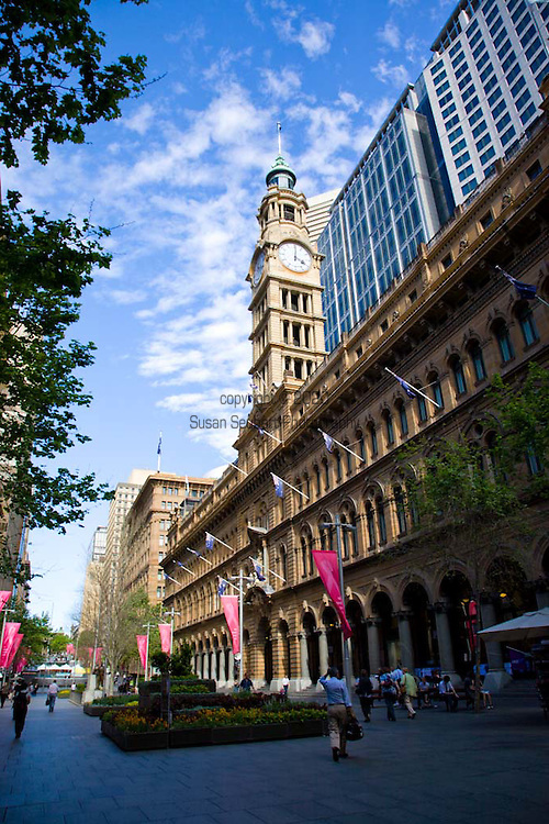 One Martin Place, featuring Neo-Classical Architecture, is an iconic public space in Sydney.  There is dining and shopping available inside this restored historic building.