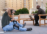 Tim shooting model, Walter Jackson for stock business shoot in downtown Seattle, WA.