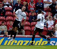 Fotball<br /> England 2005/2006<br /> Foto: SBI/Digitalsport<br /> NORWAY ONLY<br /> <br /> FA Barclays Premiership<br /> Middlesbrough v Charlton<br /> 28/08/2005.<br /> <br /> Charlton's Dennis Rommedahl celebrates his goal.