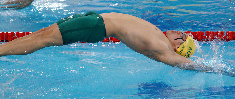 Benjamin TREFFERS of Australia starts in the men's 100m Backstroke Heats during the 10th FINA World Swimming Championships (25m) at the Hamdan bin Mohammed bin Rashid Sports Complex in Dubai, United Arab Emirates, Wednesday, Dec. 15, 2010. (Photo by Patrick B. Kraemer / MAGICPBK)