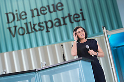"01.07.2017, Design Center, Linz, AUT, ÖVP, 38. ordentlicher Bundesparteitag, mit Wahl von Bundesminister Kurz zum neuen Bundesparteiobmann, unter dem Motto ""Zeit für Neues - Zusammen neue Wege gehen"". im Bild ÖVP-Generalsekretärin Elisabeth Köstinger // Secretary General of the Austrian Peoples Party Elisabeth Koestinger during political convention of the Austrian People' s Party with election of Sebastian Kurz as the new party leader at Design Centre in Linz, Austria on 2017/07/01. EXPA Pictures © 2017, PhotoCredit: EXPA/ Michael Gruber"