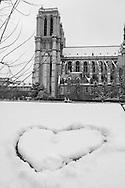 France. Paris under the snow, pont au double  under notre dame, ile de la cite, saint Michel  area