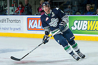 KELOWNA, CANADA -FEBRUARY 10: Justin Hickman #9 of the Seattle Thunderbirds skates against the Kelowna Rockets on February 10, 2014 at Prospera Place in Kelowna, British Columbia, Canada.   (Photo by Marissa Baecker/Getty Images)  *** Local Caption *** Justin Hickman;