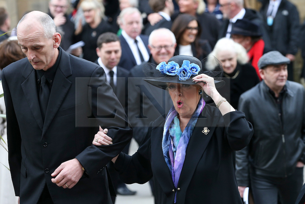 © Licensed to London News Pictures . 18/03/2016 . Manchester , UK. Julie Goodyear leaves following the service. Television stars and members of the public attend the funeral of Coronation Street creator Tony Warren at Manchester Cathedral . Photo credit : Joel Goodman/LNP