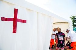 Injured rider at first aid in finish area of 36th Marathon Franja BTC City 2017, on June 11, 2016 in Dolgi most, Ljubljana, Slovenia. Photo by Vid Ponikvar / Sportida