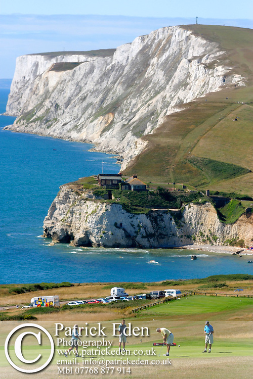 freshwater, bay, Freshwater, Bay, Golf, club, chalk , cliff, cliffs, People, Isle of Wight, England, UK, West Wight photography photograph canvas canvases