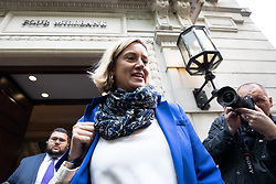 © Licensed to London News Pictures. 24/09/2019. London, UK. Amber Rudd MP leaves media studios in Westminster, following a historic ruling by the Supreme Court this morning that Boris Johnson's decision to suspend Parliament for five weeks was unlawful. Photo credit : Tom Nicholson/LNP