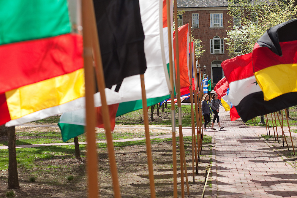Flags of counties from around the world were on display on the college green during international week at Ohio University in Athens, Ohio on Saturday, April 20, 2013. Photo by Chris Franz