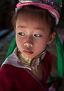 Young Girl of Long Neck Tribe near Chiang Mai, Northern Thailand.