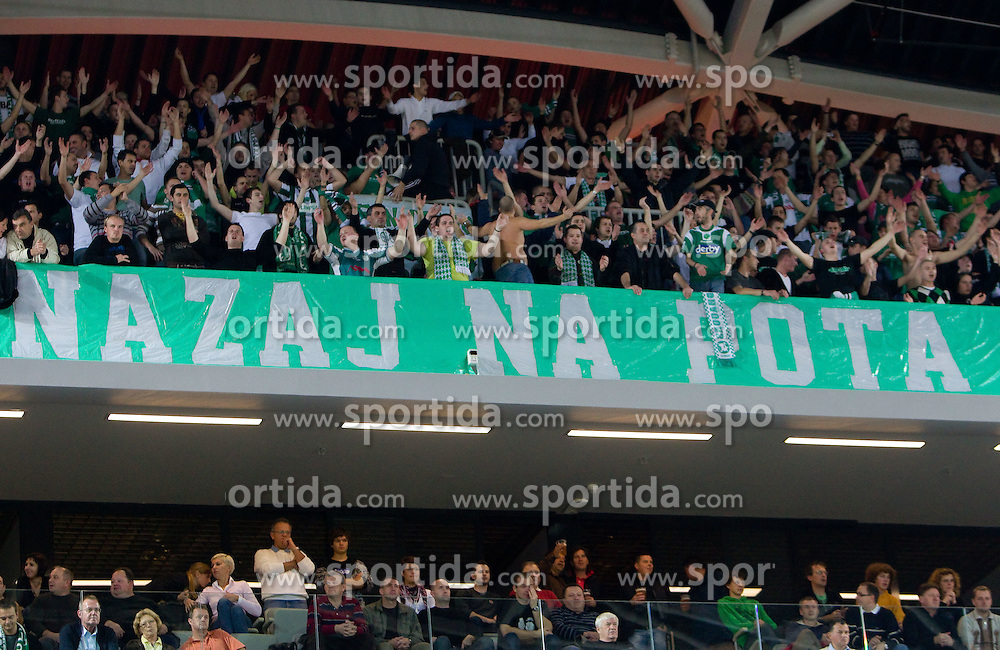 Green Dragons, Fans of Olimpija  during basketball match between KK Union Olimpija (SLO) and Panathinaikos (GRE) in Group D of Turkish Airlines Euroleague, on November 4, 2010 in Arena Stozice, Ljubljana, Slovenia. Union Olimpija defeated Panathinaikos 85-84. (Photo By Vid Ponikvar / Sportida.com)