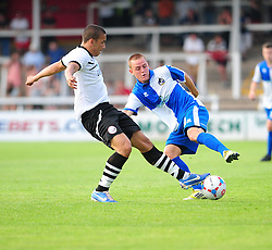 Bristol Rovers' Eliot Richards  turns into trouble - Photo mandatory by-line: Dougie Allward/JMP - Tel: Mobile: 07966 386802 16/07/2013 - SPORT - FOOTBALL - Bristol -  Hereford United V Bristol Rovers - Pre Season Friendly