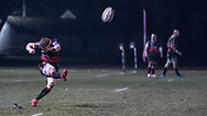 Dragons' Dorian Jones takes the conversion.<br /> <br /> Photographer Simon Latham/Replay Images<br /> <br /> Guinness PRO14 - Dragons v Edinburgh - Friday 23rd February 2018 - Eugene Cross Park - Ebbw Vale<br /> <br /> World Copyright © Replay Images . All rights reserved. info@replayimages.co.uk - http://replayimages.co.uk
