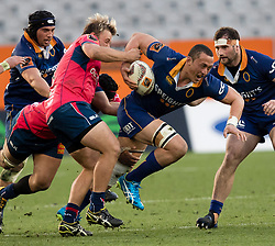 Otago's Sione Teu, centre, takes the ball into the tackle against Tasman in the Mitre 10 Cup rugby match, Forsyth Barr Stadium, Dunedin, New Zealand, Sept. 16 2017.  Credit:SNPA / Adam Binns ** NO ARCHIVING**