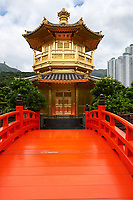 Orange bridge over a small lake leading to the Golden Pagoda, Nan Lian Garden, Kowloon (Diamond Hill), Hong Kong
