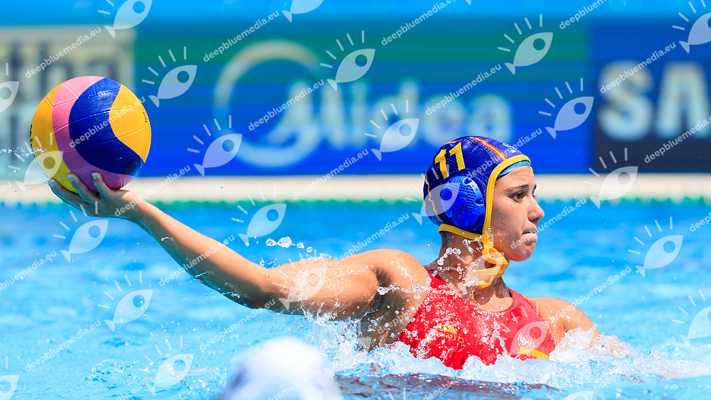 Anna Gual Rovirosa of Spain<br /> New Zealand (White cap) vs Spain (Blue Cap) Water Polo - Preliminary round<br /> Day 03 16/07/2017 <br /> XVII FINA World Championships Aquatics<br /> Alfred Hajos Complex Margaret Island  <br /> Budapest Hungary July 15th - 30th 2017 <br /> Photo @Marcelterbals/Deepbluemedia/Insidefoto Photo @Marcelterbals/Deepbluemedia/Insidefoto