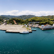 Aerial panorama of Kannoura fishing port in Kochi Prefecture, Japan. This is the area where I have documented white-spotted bamboo sharks (Chiloscyllium plagiosum) mating in the wild.
