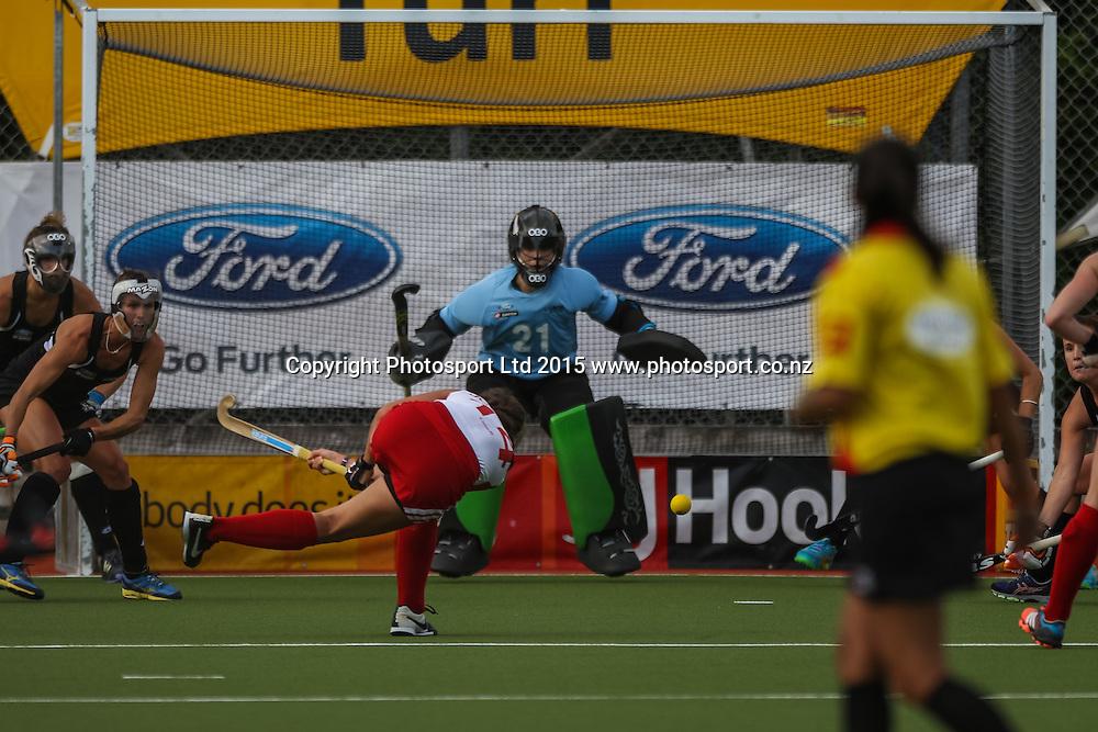 Karli Johansen shoots and scores. International Womens Hockey. New Zealand Black Sticks v Canada. Whangarei. New Zealand. Thursday 5 February 2015. Copyright Photo: Heath Johnson / www.photosport.co.nz