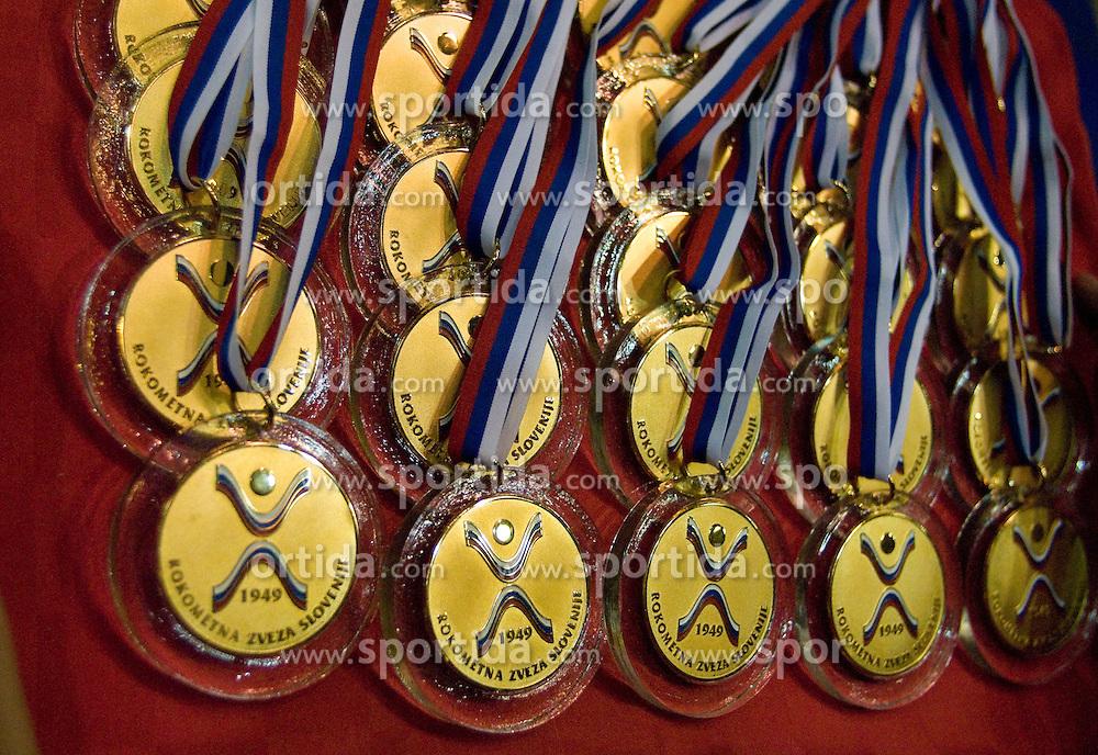 Gold medals at the Final handball game of the Slovenian Women handball Championship between RK Krim Mercator and RK Olimpija when Krim Mercator won the Championship and became Slovenian National Champion, on May 23, 2009, Kodeljevo, Ljubljana, Slovenia.  (Photo by Klemen Kek / Sportida)
