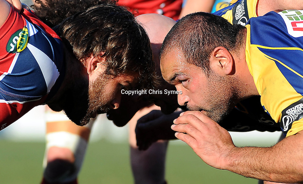 Makos Hamish Cochrane(L) and Otago`s James McGougan pack down for a scrum during the ITM Cup game Tasman Makos v Otago. Trafalgar Park, Nelson, New Zealand. Sunday 21 August 2011. Photo: Chris Symes/www.photosport.co.nz