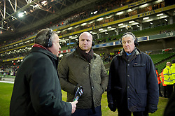 DUBLIN, IRELAND - Tuesday, February 8, 2011: Former Wales striker John Hartson and former goalkeeper Dai Davies working for Sgorio during the opening Carling Nations Cup match between the Republic of Ireland and Wales at the Aviva Stadium (Lansdowne Road). (Photo by David Rawcliffe/Propaganda)