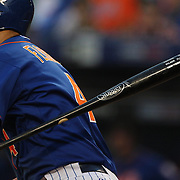 Wilmer Flores, New York Mets, throws his bat on a hit during the New York Mets Vs Washington Nationals MLB regular season baseball game at Citi Field, Queens, New York. USA. 31st July 2015. Photo Tim Clayton