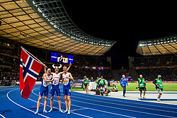 August 10, 2018 - Berlin, GERMANY - 180810 Jakob Ingebrigtsen of Norway celebrates with his brother Henrik Ingebrigtsen and Filip Ingebrigtsen after winning the men's 1500 meter final during the European Athletics Championships on August 10, 2018 in Berlin..Photo: Vegard Wivestad GrÂ¿tt / BILDBYRN / kod VG / 170201 (Credit Image: © Vegard Wivestad Gr¯Tt/Bildbyran via ZUMA Press)