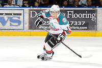 KELOWNA, CANADA, FEBRUARY 17: Cody Chikie #14 of the Kelowna Rockets skates on the ice against the Calgary Hitmen at the Kelowna Rockets on February 17, 2012 at Prospera Place in Kelowna, British Columbia, Canada (Photo by Marissa Baecker/Shoot the Breeze) *** Local Caption ***