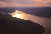 Aerial, Sunset, Allegheny National Forest, reservoir, Pennsylvania