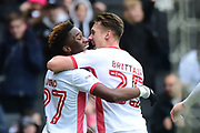 Milton Keynes Dons striker (on loan from Chelsea) Ike Ugbo (27) scores a goal and celebrates withMilton Keynes Dons defender Callum Brittain (25) 1-0 during the EFL Sky Bet League 1 match between Milton Keynes Dons and Portsmouth at stadium:mk, Milton Keynes, England on 10 February 2018. Picture by Dennis Goodwin.