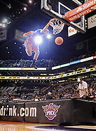 Mar. 14, 2012; Phoenix, AZ, USA; A member of the Phoenix Suns Verve Sol Patrol performs during the fourth quarter at the US Airways Center. The Suns defeated the Jazz 120-111. Mandatory Credit: Jennifer Stewart-US PRESSWIRE..