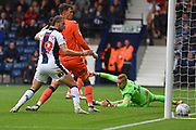 West Bromwich Albion defender Kieran Gibbs (3) hidden scores a goal 2-0 during the EFL Sky Bet Championship match between West Bromwich Albion and Millwall at The Hawthorns, West Bromwich, England on 22 September 2018.