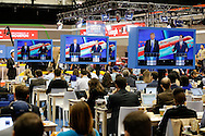 US Republican Presidential Candidates Donald Trump and Ted Cruz is seen on television in the CNN filing room during the Republican Presidential Debate at the University of Houston in Houston, Texas on February 25, 2016.