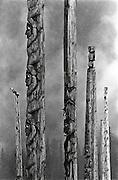 Totem poles, Kispiox, Skeena Valley, British Columbia, Canada