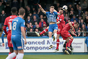 Rhys Oates (Hartlepool United) and Shaun Brisley (Carlisle United) jump for the ball during the EFL Sky Bet League 2 match between Hartlepool United and Carlisle United at Victoria Park, Hartlepool, England on 14 April 2017. Photo by Mark P Doherty.