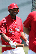 ANAHEIM, CA - APRIL 30:  Howie Kendrick #47 of the Los Angeles Angels of Anaheim has a laugh during batting practice before the game against the Cleveland Indians at Angel Stadium on Wednesday, April 30, 2014 in Anaheim, California. The Angels won the game 7-1. (Photo by Paul Spinelli/MLB Photos via Getty Images) *** Local Caption *** Howie Kendrick