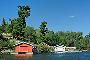 Boathouses on Lake Of The Woods<br /> Nestor Falls<br /> Ontario<br /> Canada