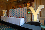 A general view of the press conference table prior to the during the Eve of tour press conference ahead of the first stage of the Tour de Yorkshire in the Leeds Civic Hall, Leeds, United Kingdom on 1 May 2019.