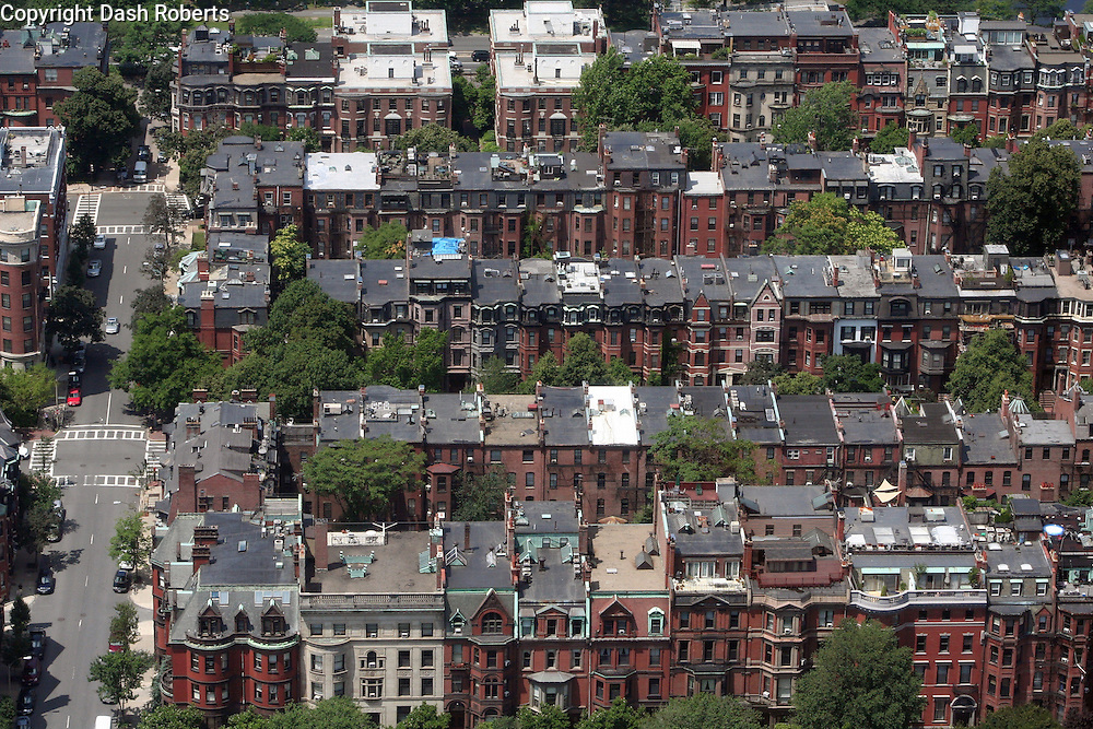 Aerial view of row houses in the Back Bay area of Boston, Ma. on a hot summer day.