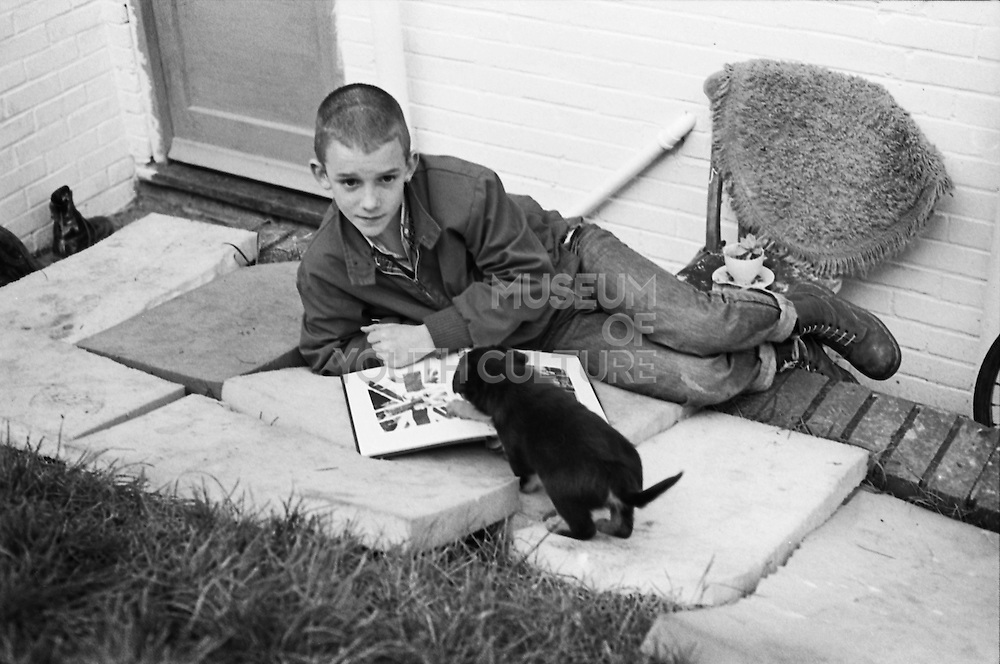 Neville with Puppy, High Wycombe, UK, 1980s.