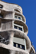Undulating corner with closed balconies (detail), La Pedrera (Casa Milà), Barcelona, Catalonia, Spain, built by Antoni Gaudí (Reus 1852 ? Barcelona 1926), 1906 - 1910, for the Milà Family, with Josep Maria Jujol as architect collaborator and with Joan Beltran as a plaster. One of the main Gaudi residential buildings. Picture by Manuel Cohen