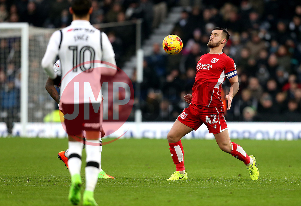 Bailey Wright of Bristol City controls the ball - Mandatory by-line: Robbie Stephenson/JMP - 11/02/2017 - FOOTBALL - iPro Stadium - Derby, England - Derby County v Bristol City - Sky Bet Championship