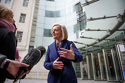 © Licensed to London News Pictures. 19/02/2017. London, UK. Secretary of State for Justice, Lord Chancellor LIZZ TRUSS speaks to media as she leaves BBC Broadcasting House in London after an appearance on The Andrew Marr Show on BBC one on February 19, 2017. Photo credit: Ben Cawthra/LNP