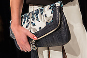 A beaded bag in shades of blue and light gray. By Monika Chiang at Spring 2013 Fashion Week in New York.