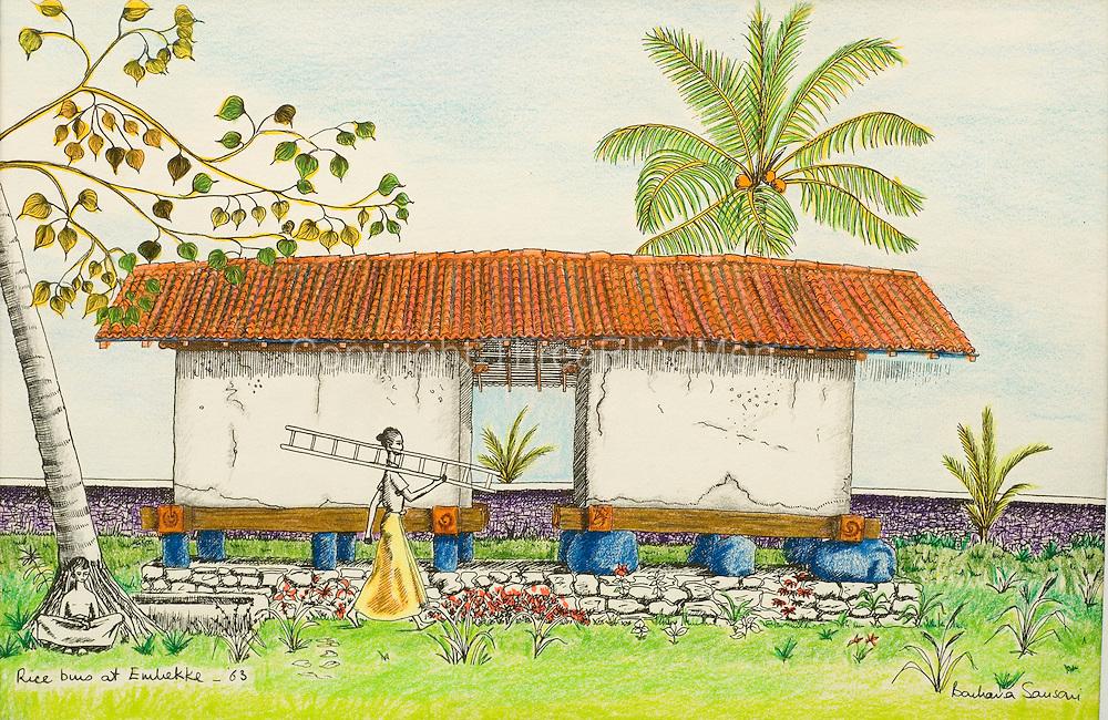 Rice bins at Embekke. Sri Lanka. Painting and drawing by Barbara Sansoni.