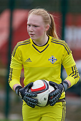 NEWPORT, WALES - Sunday, April 3, 2016: Northern Ireland's goalkeeper Jade McPhee in action against Wales during Day 3 of the Bob Docherty International Tournament 2016 at Dragon Park. (Pic by David Rawcliffe/Propaganda)