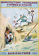 Cover of catalogue of Manufrance (Manufacture Francaise d'Armes et Cycles) Saint Etienne, c1920. Farmer who has put down his scythe to chase boys stealing apples has his foot caught in man trap.