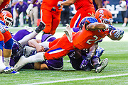 Sam Houston State running back Javin Webb reaches across the goal line for a touchdown in the Bearkats' 42-24 win over Stephen F. Austin on Saturday, Oct. 28, 2017, in Houston. Sam Houston State has won seven straight games in the overall series against their East Texas rivals. (Photo/Olyn D. Taylor)