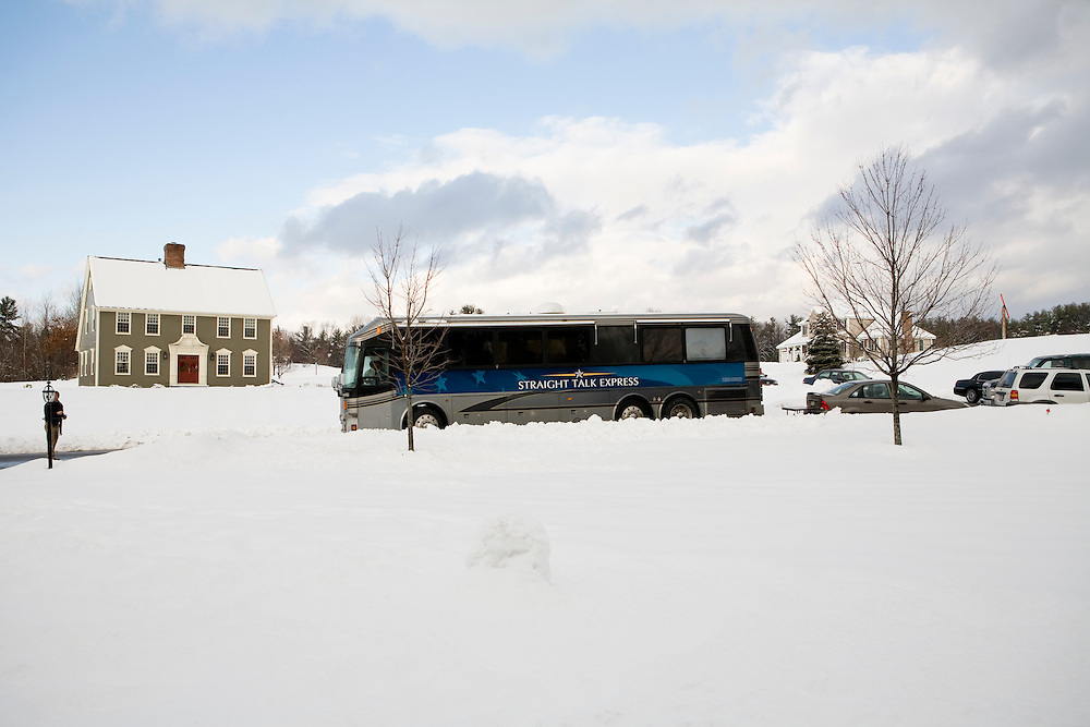 The Straight Talk Express, a bus carrying Sen. John McCain (R-AZ), arrives for a  campaign house party in Londonderry, NH, on Monday, Dec. 31, 2007.